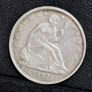 1840 LIBERTY SEATED HALF DOLLAR   REV '39   XF DETAILS  30686