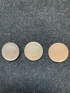 3 PC LOT 1 1851/ 2 1853 HALF CENTS  USED /CLEAR DATES