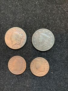 4 PC LOT  2 1820 CLASSIC HEAD LG CENTS/ 1 1835 AND 1 1829 HALF CENTS G F