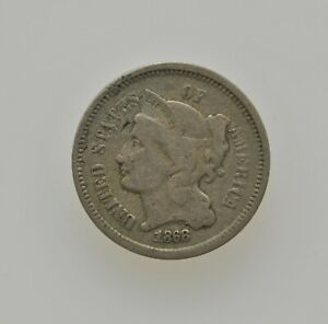 1868 UNITED STATES 3 CENT NICKEL TYPE COIN PHILADELPHIA MINT .03C