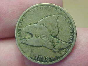 1858 FLYING EAGLE CENT COPPER NICKEL PENNY SMALL LETTERS FULL RIM DATE LETTERING