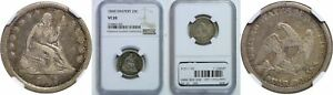 1840 SEATED LIBERTY QUARTER NGC VF 20 DRAPERY