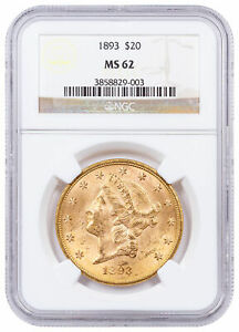 1893 $20 LIBERTY HEAD GOLD DOUBLE EAGLE NGC MS62 MINT STATE 62