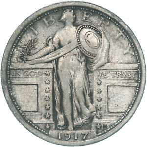1917 STANDING LIBERTY QUARTER TYPE 1 90  SILVER FINE VF  SEE PICS D796