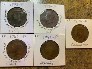 5 NICE KENNEDY HALF DOLLARS  COLLECTION D & P   ANNEALED AND COPPER