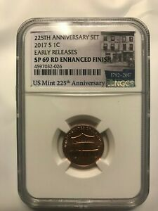2017 S LINCOLN CENT NGC SP69 RD ENHANCED FINISH 225TH ANNIVERSARY EARLY RELEASE