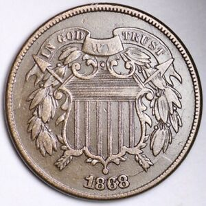 1868 TWO CENT PIECE CHOICE XF  E183 AEN