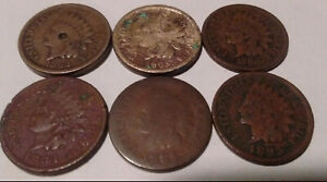 CULL INDIAN CENTS 1862 1863 1880 1883 1885 1895 PENNY
