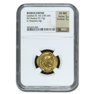 Click now to see the BUY IT NOW Price! ROME AV AUREUS GORDIAN III  238 244 AD  CH MS NGC  RIC IV 57    SKU213563