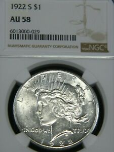 1922 S PEACE DOLLAR NGC AU58 BLAST WHITE SUPERB LUSTER PQ COIN FOR GRADE MH206