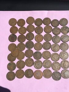 CIRCULATED ROLL OF INDIAN HEAD CENTS  INCLUDES AG 1875 CENT