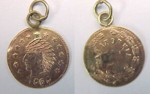1858 CALIFORNIA CAL GOLD CHARM INDIAN HEAD ROUND 1/2 DOLLAR SIZED LOOPED