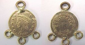 1859 CALIFORNIA CAL GOLD CHARM LIBERTY HEAD ROUND 1/2 DOLLAR SIZED LOOPED