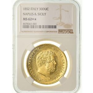 Click now to see the BUY IT NOW Price! [489262] MONETA STATI ITALIANI NAPLES FERDINANDO II 30 DUCATI 1852 NGC