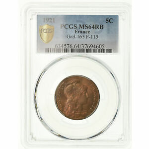 Click now to see the BUY IT NOW Price! [489247] COIN FRANCE DUPUIS 5 CENTIMES 1921 PARIS PCGS MS64RB BRONZE