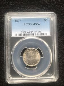 Click now to see the BUY IT NOW Price! 1897 5C LIBERTY V NICKEL   PCGS MS66
