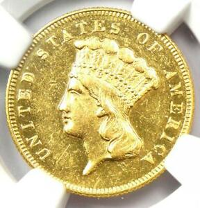 1869 THREE DOLLAR INDIAN GOLD COIN $3   CERTIFIED NGC AU DETAILS    DATE