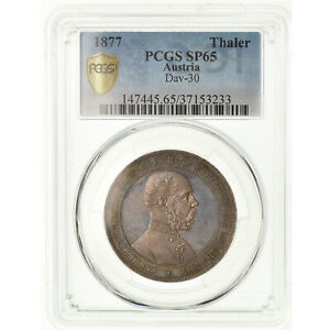 Click now to see the BUY IT NOW Price! [489381] COIN AUSTRIA FRANZ JOSEPH I THALER 1877 PCGS SP65 SILVER