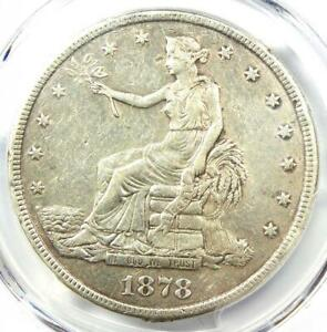 1878 CC TRADE SILVER DOLLAR T$1   PCGS XF DETAILS  EF     CARSON CITY COIN