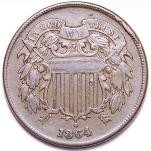 1864 2 CENT PIECE CHOICE XF OBV CUD & DIES ROTATED ABOUT 180 DEG E562 AEX