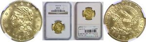 1814/3 $5 GOLD COIN NGC MS 62