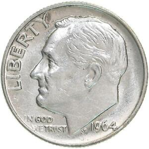 1964 ROOSEVELT DIME 90  SILVER ABOUT UNCIRCULATED AU