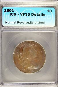1801   ICG VF35 DETAILS  NORMAL REVERSE SCRATCH DRAPED BUST LARGE CENT   B17226