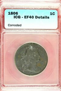 1805   ICG EF40 DETAILS LARGE CENT DRAPED BUST    HD0307