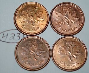 2002 P 2003 P 2004 P 2005 P 1 CENT CANADA STEEL CANADIAN PENNY MAGNETIC LOT 423