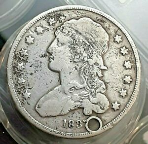 1837 CAPPED BUST QUARTER DOLLAR CIRCULATED COIN WITH HOLE