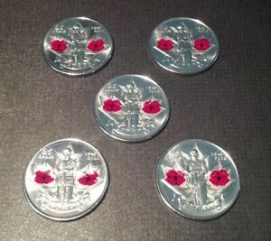 2010 CANADIAN DOUBLE POPPY QUARTERS  5  UNC.  STRAIGHT FROM MINT ROLL
