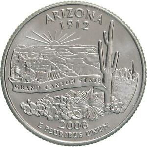 2008 D STATE QUARTER ARIZONA CHOICE BU CN CLAD US COIN