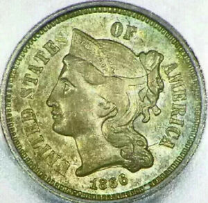 1866 3 CENT NICKEL 3C US MS63 UNCIRCULATED ICG ENCAPSULATED NICE COIN I047