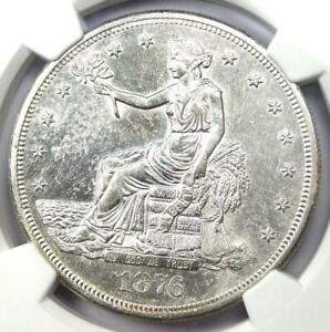 1876 S TRADE SILVER DOLLAR T$1   CERTIFIED NGC UNCIRCULATED DETAILS  MS UNC