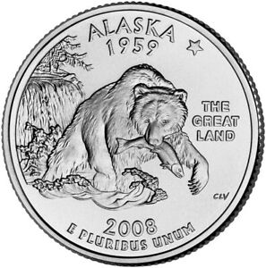 2008 P ALASKA STATE WASHINGTON QUARTER   CIRCULATED