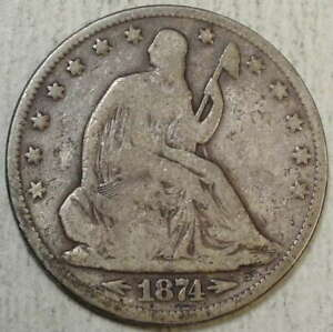 1874 SEATED LIBERTY HALF DOLLAR WITH ARROWS GOOD  POPULAR TYPE COIN   0726 01