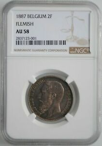 Click now to see the BUY IT NOW Price! BELGIUM 2 FRANCS 1887 NGC AU58