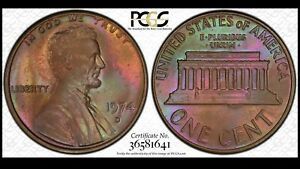 Click now to see the BUY IT NOW Price! 1974 D LINCOLN MEMORIAL CENT PCGS MS66BN SOLO TOP POP NEON TONING
