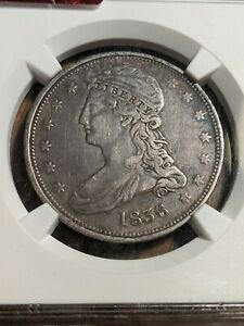 1836 CAPPED BUST REEDED EDGE 50C LY  ONLY 1200 MINTED NGC VF 30