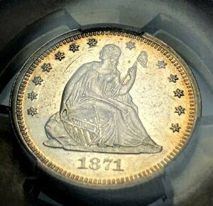 1871 PROOF SEATED LIBERTY QUARTER PCGS PR55 25C MINTAGE: 960
