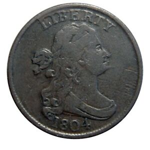 HALF CENT/PENNY 1804 SPIKED CHIN COHEN 8  OBVERSE CUD COLLECTOR COIN