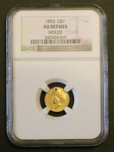1855 TYPE 2 GOLD LIBERTY DOLLAR CERTIFIED PCGS AU DETAILS