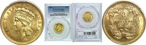 1854 $3 GOLD COIN PCGS GENUINE