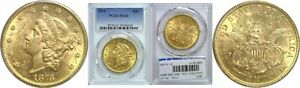 1876 $20 GOLD COIN PCGS MS 61