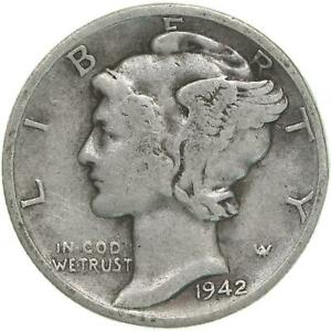 1942 D MERCURY DIME 90  SILVER GOOD VG