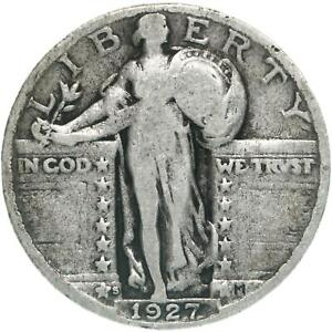 1927 S STANDING LIBERTY QUARTER 90  SILVER GOOD VG