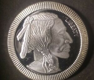 SILVERTOWNE 1 OZ INDIAN HEAD BUFFALO .999 FINE SILVER ROUND BU COND.