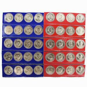 2008 P D PRESIDENTIAL DOLLAR 5 SETS IN MINT CELLO SATIN 40 US COIN LOT
