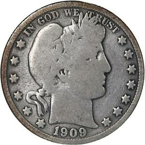 1909 BARBER HALF DOLLAR 90  SILVER GOOD GD