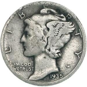 1935 S MERCURY DIME 90  SILVER GOOD VG